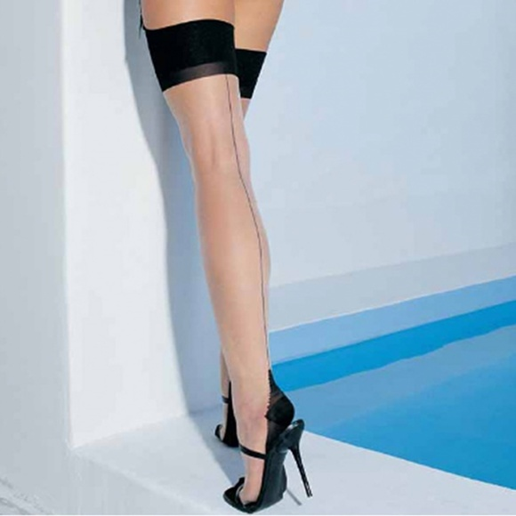 Womens Cuban Heel Stockings Black and Nude Thigh Highs Hosiery For Garter Belts 2 Pack